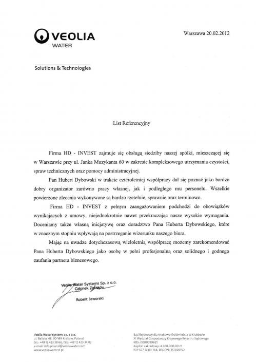 List referencyjny Veolia